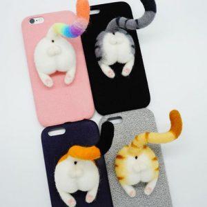 超療癒可愛動物 - 「貓咪屁屁」羊毛氈手機殼/手機套