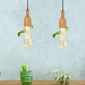 玻璃燈裡可以種植物-北歐風清透植物木柄玻璃植栽植物水吊燈/單燈