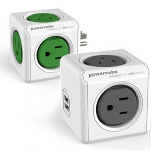 PowerCube 雙USB延長線(灰色)+4100擴充插座(綠色)
