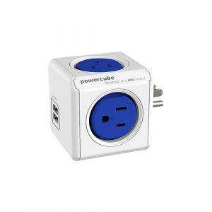 USB雙孔設計可隨意組合-PowerCube 4200雙USB擴充插座(藍色)