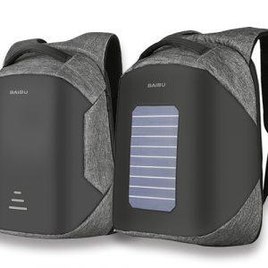 出門不用帶隨身電源-太陽能充電背包/男防盜筆記本電腦包/旅行防水雙肩包/學生書包後背包(內有普通款)